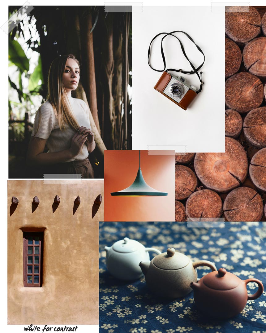 Another collage of images as part of a larger moodboard for brown hues.