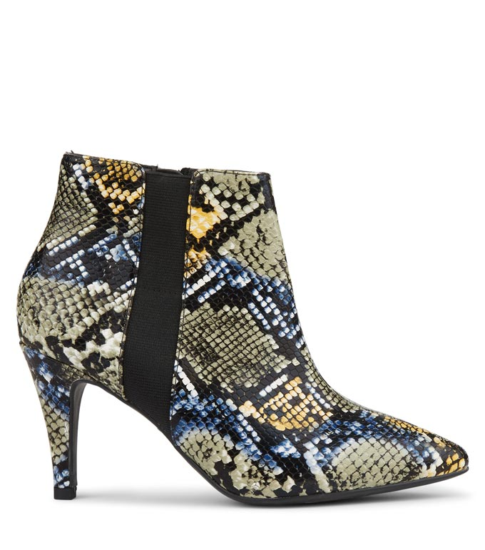 A snake skin print ankle boot. Image by New Look.