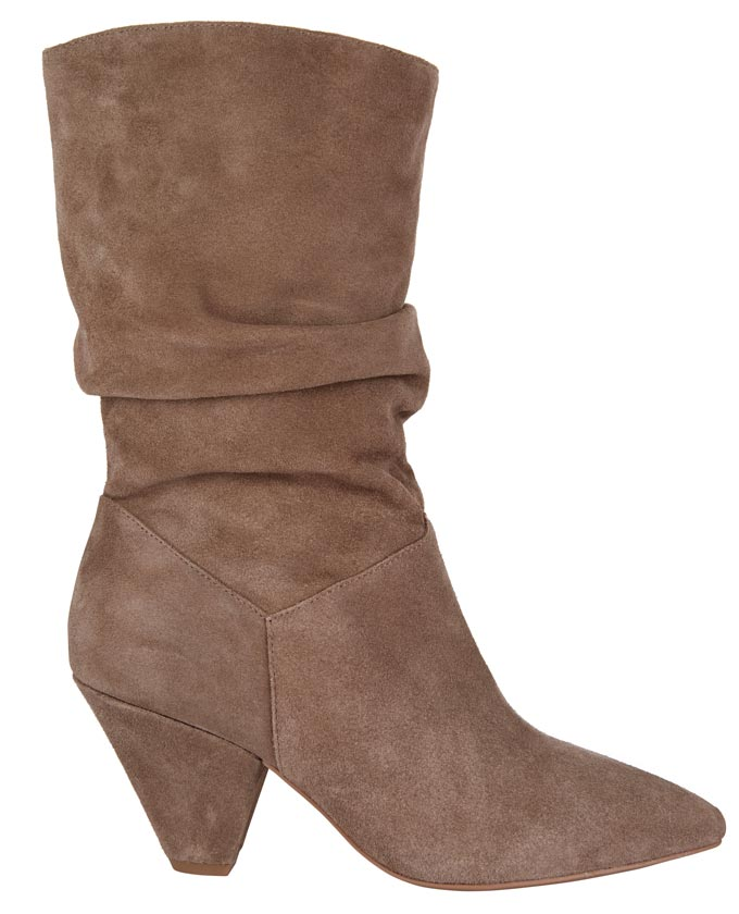 A camel beige slouch midi boot. Image by Next.