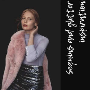 A beautiful combination. A purple sweater over a sequin skirt combined with a blushed pink teddy bear coat as worn by this beautiful woman. Image by Dorothy Perkins.