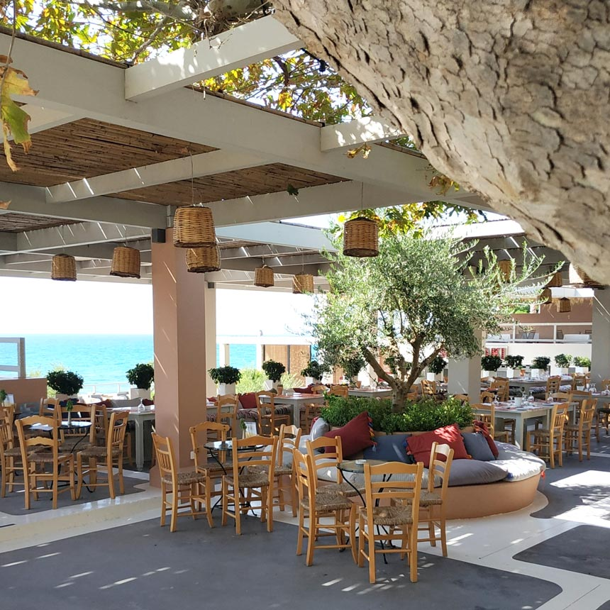 View of the outdoor dining setups under a pergola with a traditional Greek taverna vibe to them.