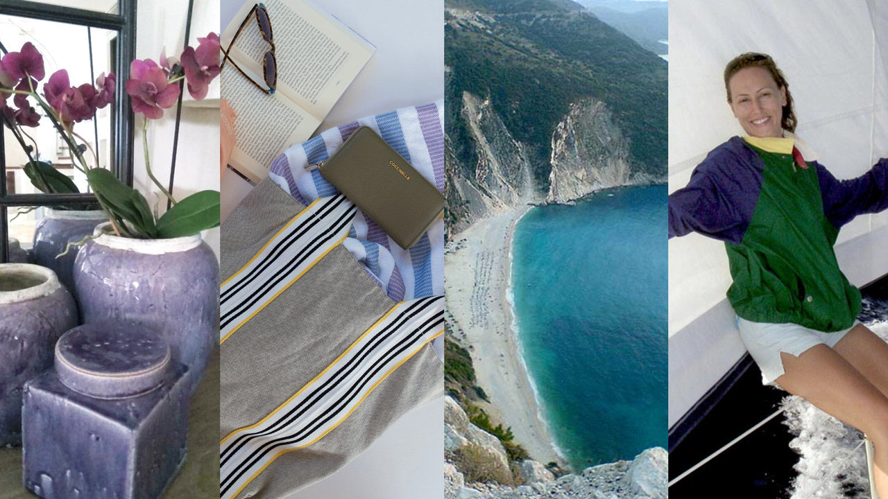 A decor related image on the far left, a style image next to it, then a travel one and on the far right Velvet against a sail.