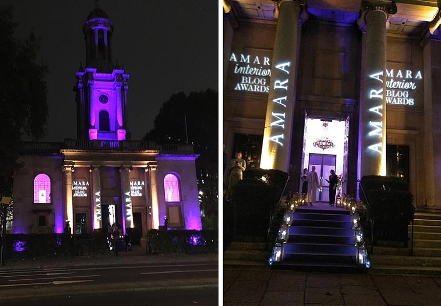 Two images of Marylebone One venue for the Amara Interior Blog Awards.