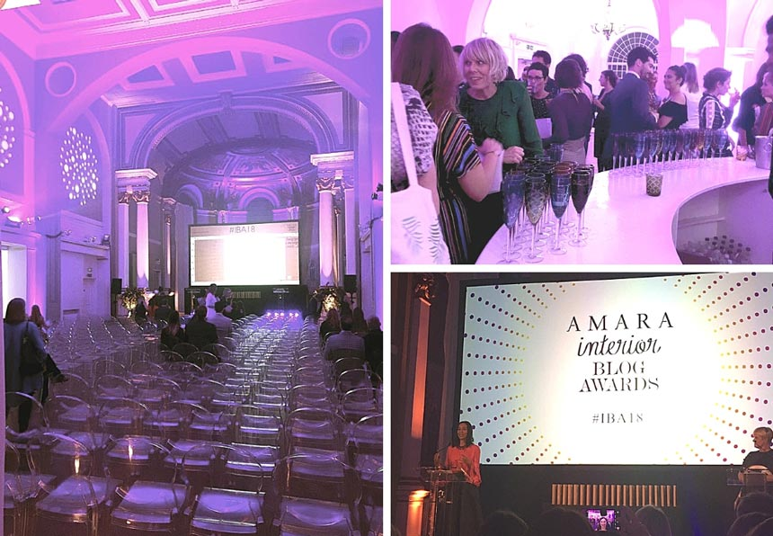 Three images of the inside of Marylebone One venue for the Amara Interior Blog Awards.