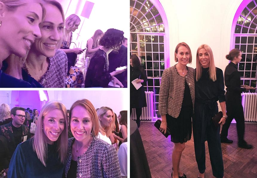 Three images of Velvet and Elisabeth at the Amara Interior Blog Awards ceremony, inside the Marylebone venue.