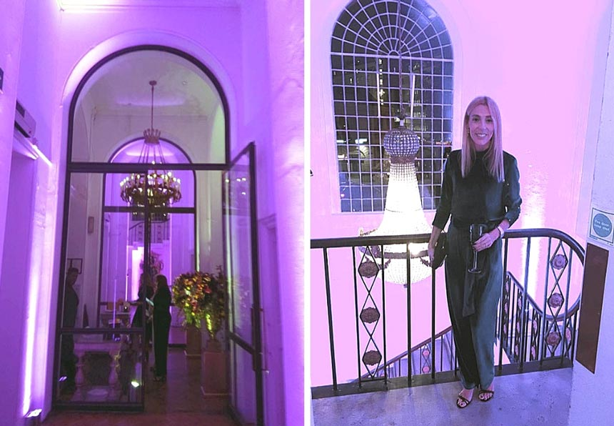 Two images, one of the entrance at the Marylebone One venue and the other of Elisabeth inside the venue with a pendant crystal chandelier behind her.