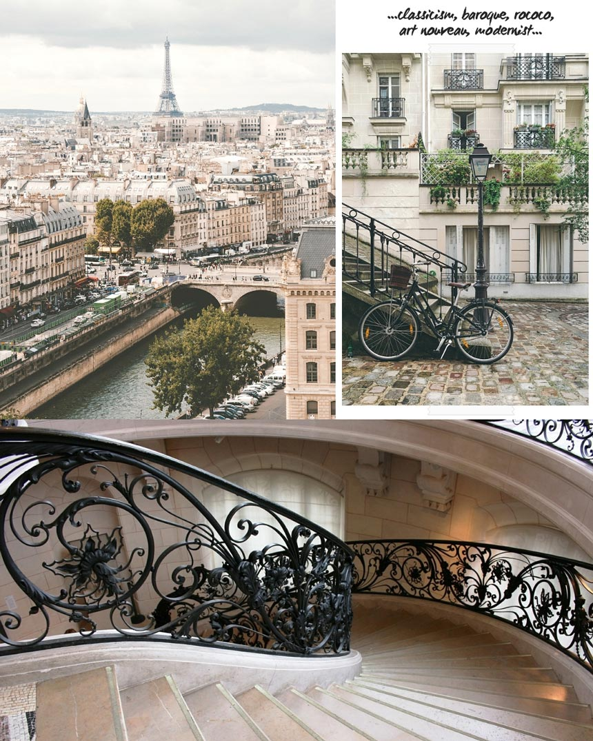 A collage of three images from Paris. The top left is view of Paris cityscape with the Eiffel Tower in the background. The top right is a close up of a building facade. The bottom image is a detailed view of a beautiful stairway with an elaborate art nouveau rail design.