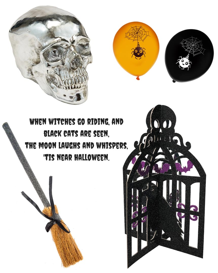 A silver skull, balloons, a broom stick and a black cage with a crow are Halloween essentials. Images by George Home.