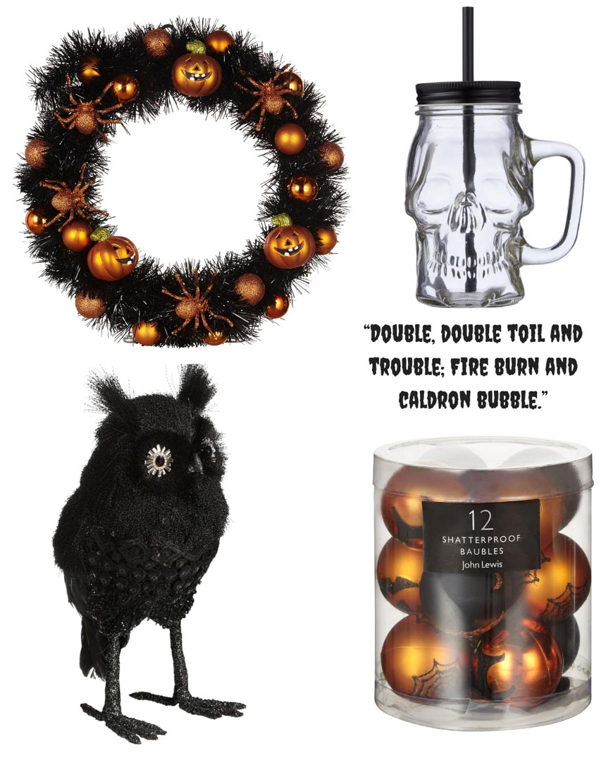 A wreath, a drinking glass shaped like a skull, a crow and orange gold baubles make some great Halloween decor. Images by John Lewis.