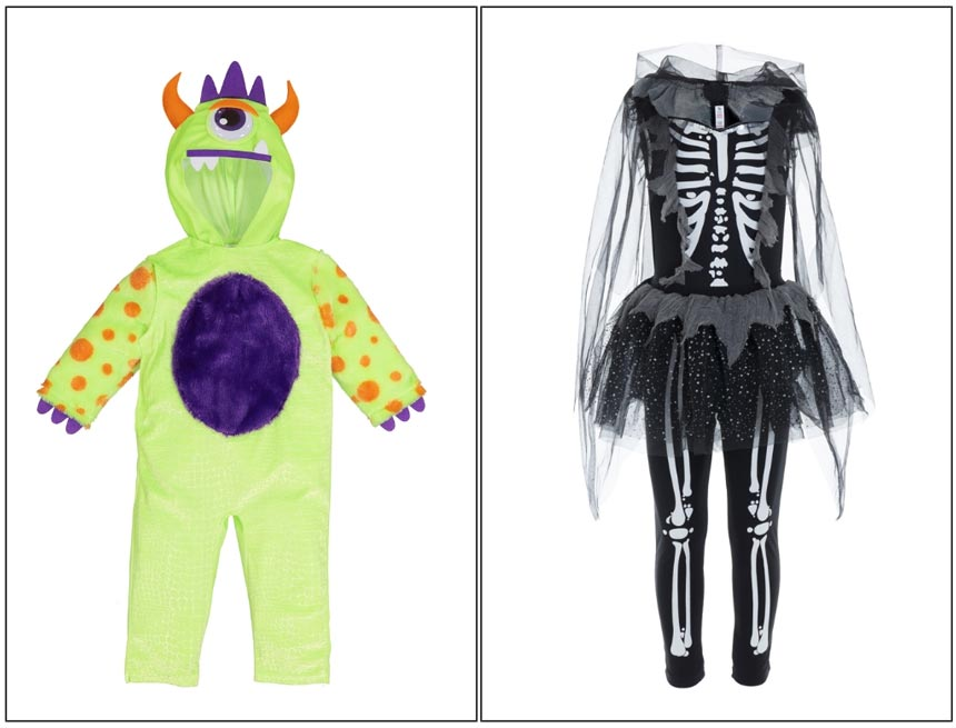A monster costume for a toddler and a ballerina skeleton costume for a young girl on the right. Images by TU.