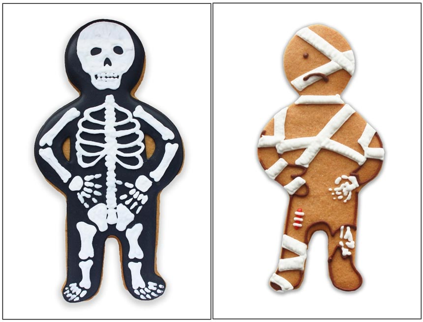 Two biscuits for Halloween. A skeleton on the left and a ginger breadman with bandages on the right. Image by Biscuiteers.