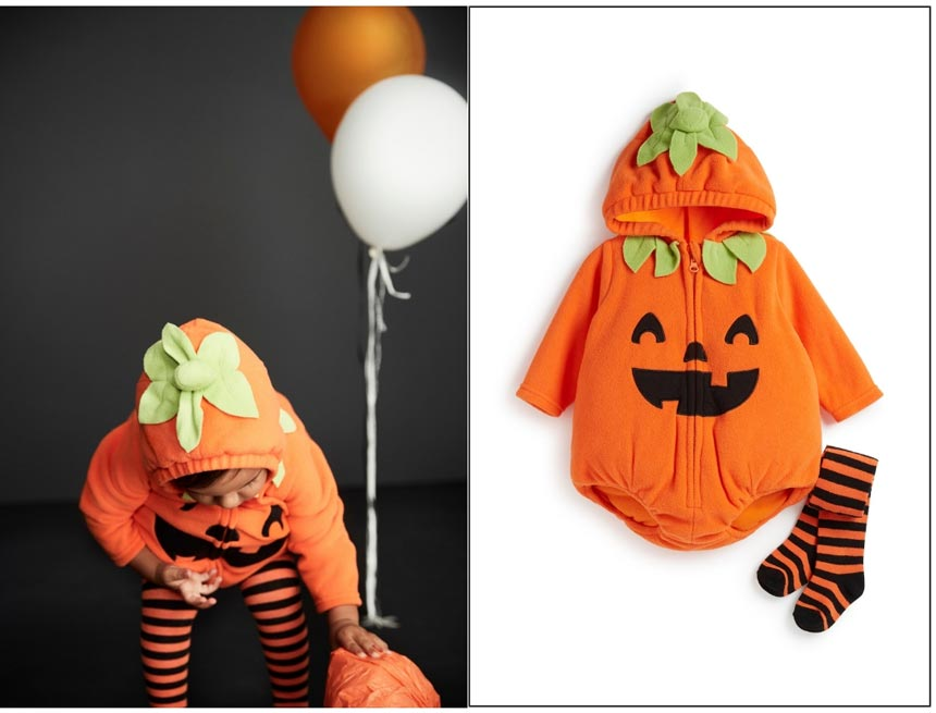 How cute! A toddler in a pumpkin costume on the left. The cutout of the costume on the right. Image by Primark.