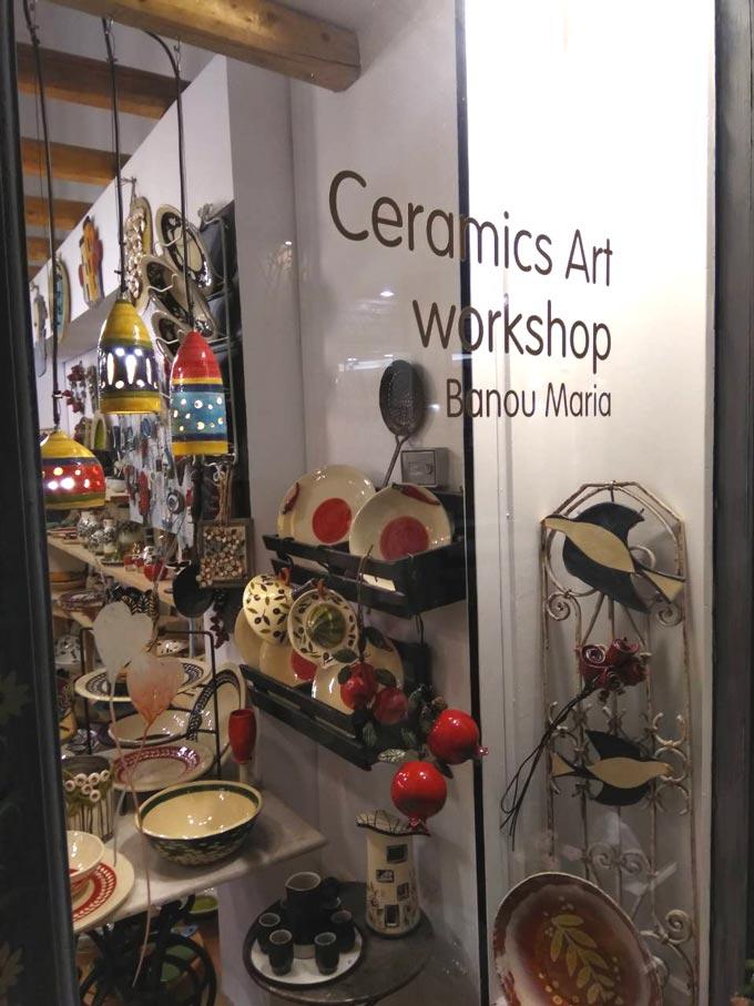 The store window of Maria Banou's ceramic workshop. Image by Velvet.