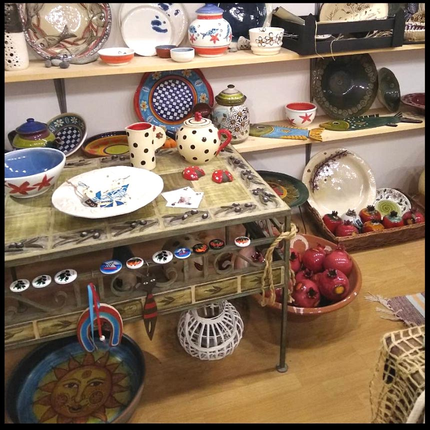 View of her displays with Banou's pottery. Image by Velvet.