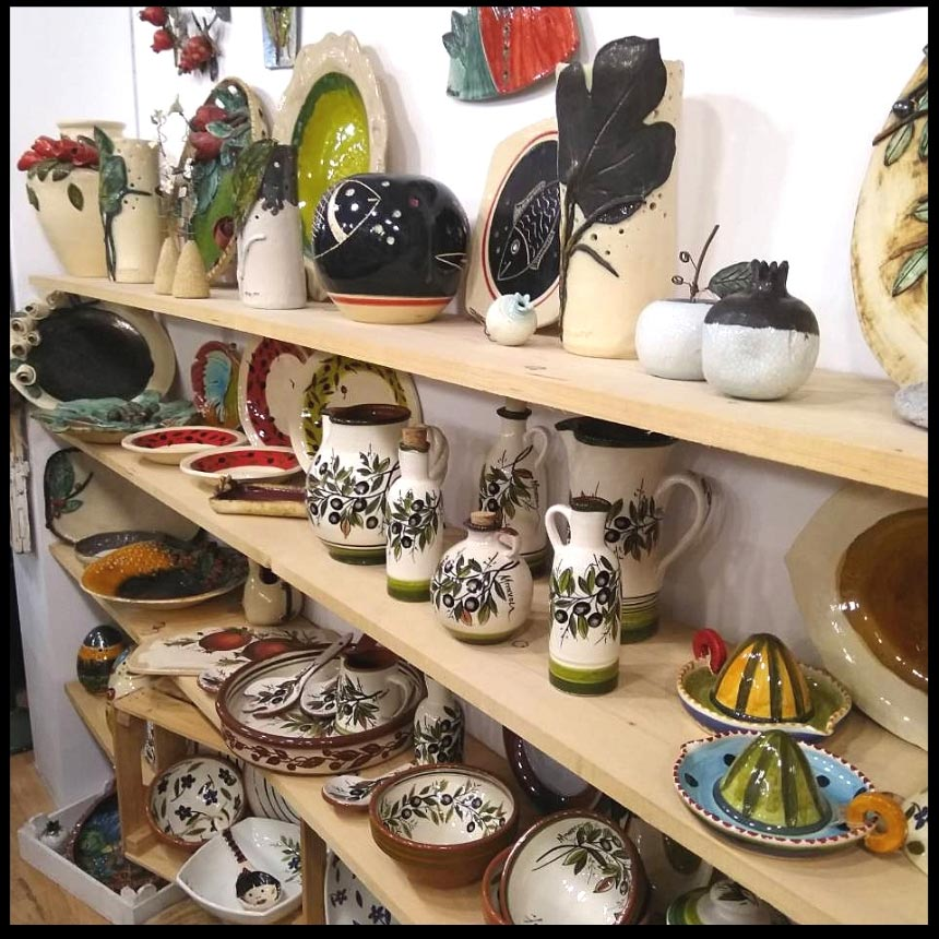 More pottery on display at Maria Banou's workshop. Image by Velvet.