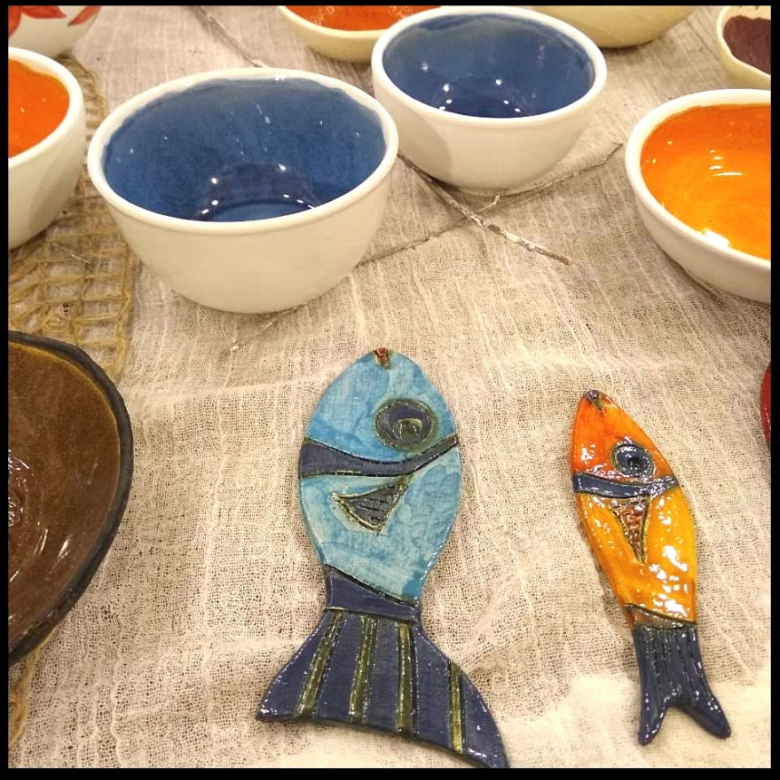 More decorative pottery and bowls made by Maria Banou. Image by Velvet.