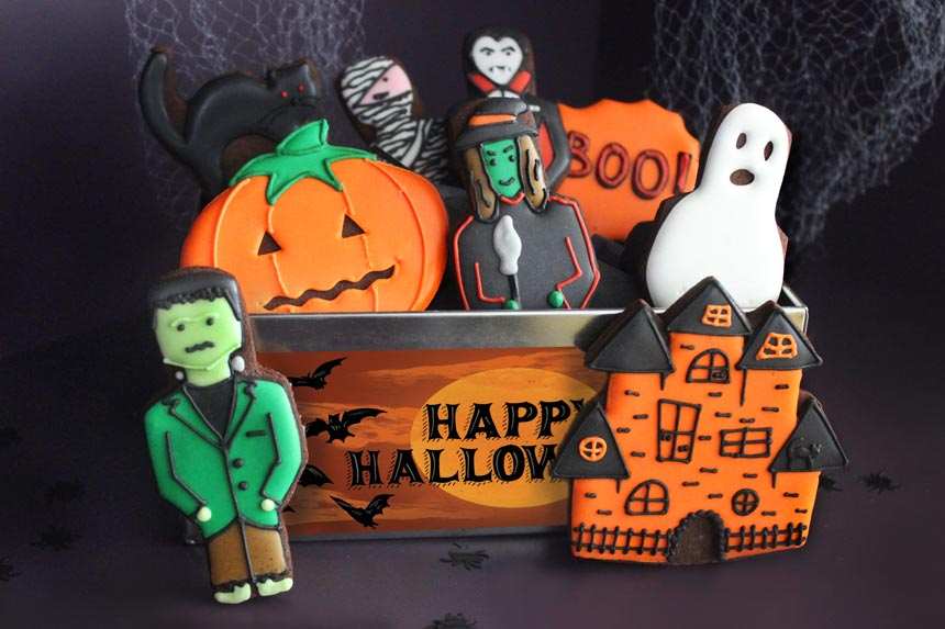 Yummy! These biscuits for Halloween look delicious. Image by Biscuiteers Baking.