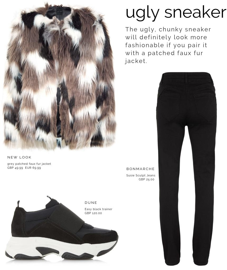 A combo of a patched faux fur coat by New Look, black skinny jeans by Bonmarche and black ugly trainers by Dune.