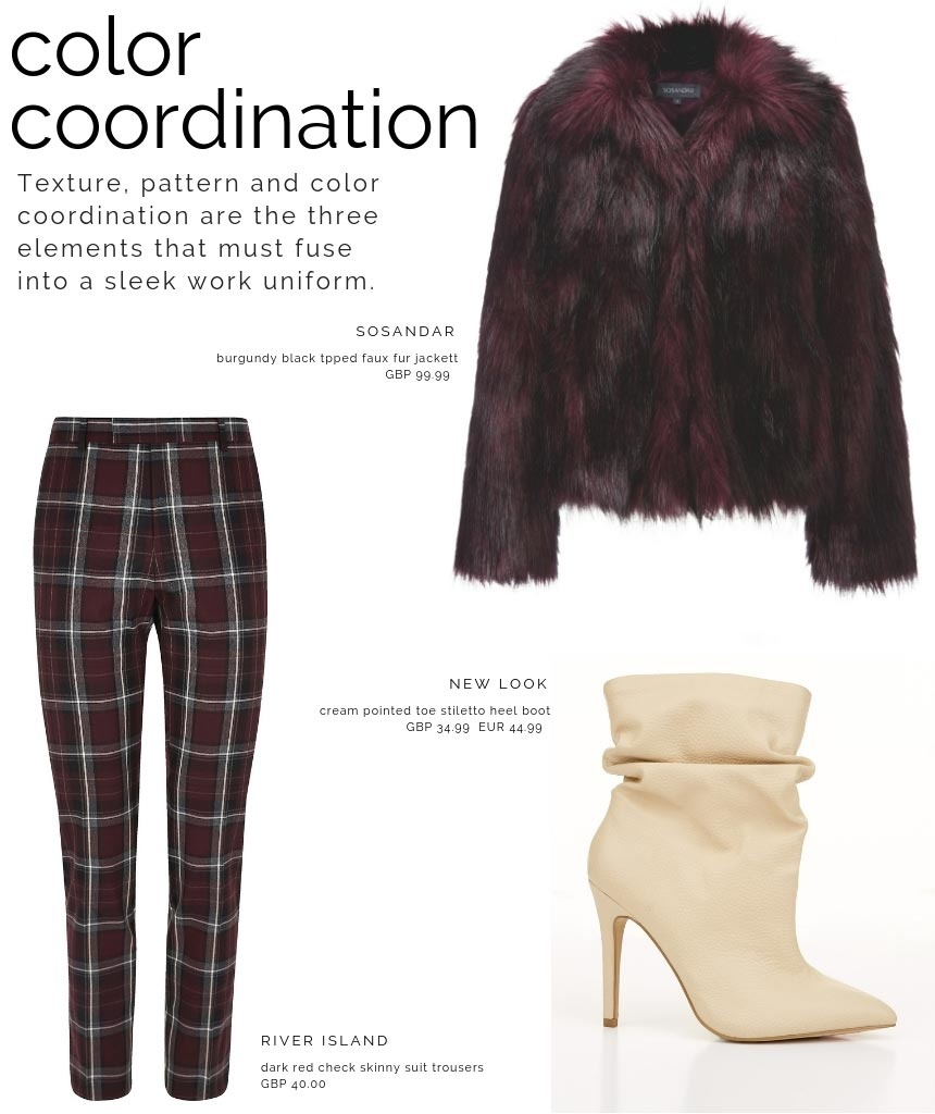 A color coordinated combo with a burgundy faux fur coat by Sosandar, a red check pattern pair of pants from River Island and cream stiletto heel boots by New Look.
