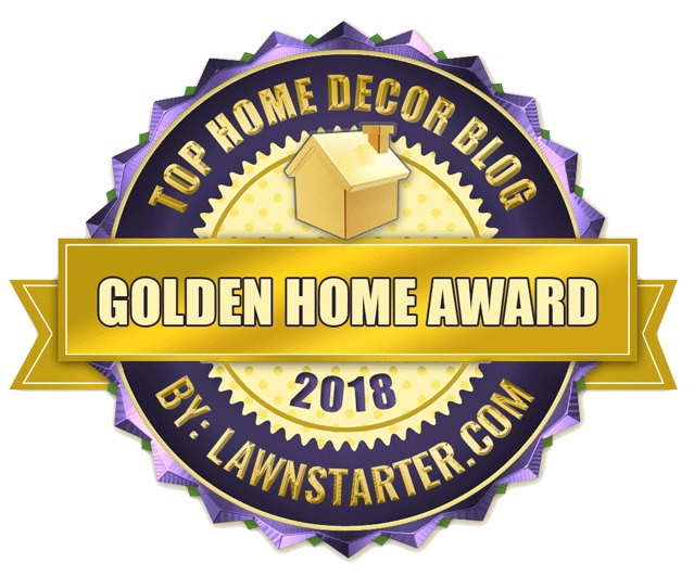 The Golden Home Award badge from Lawstarter.com for the Top Home Decor Blog 2018.