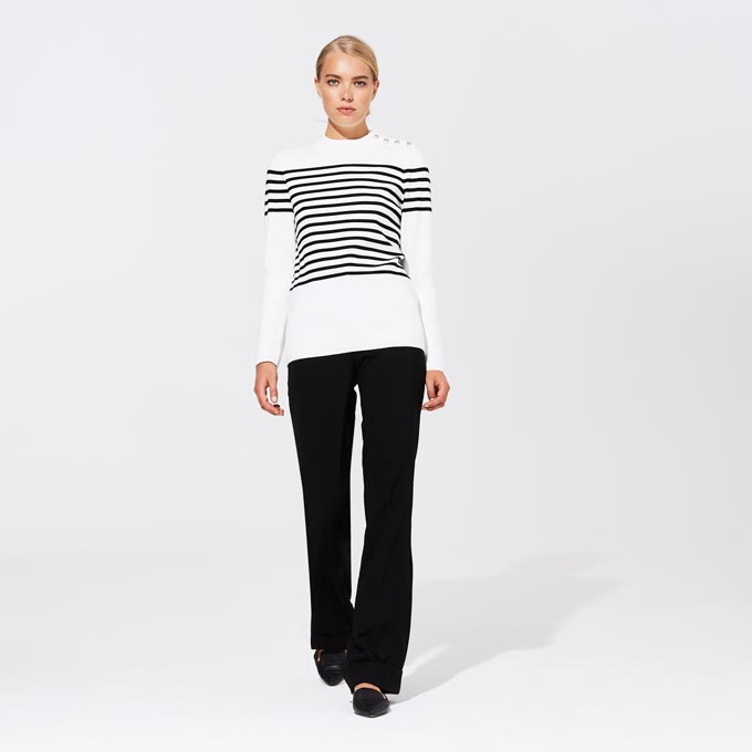 I love this Karl Lagerfeld Paris inspired jumper over dark pants. Nice! Image by Long Tall Sally.