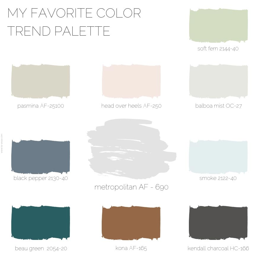 A graphic with color samples I picked from Benjamin Moore that go well with Metropolitan.