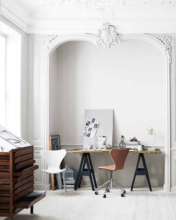 How beautiful is this?! A white nook with desk and designer chairs to compliment it all. Image by Nest.