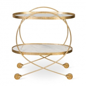 An awesome brass bar cart. Image by Oliver Bonas.