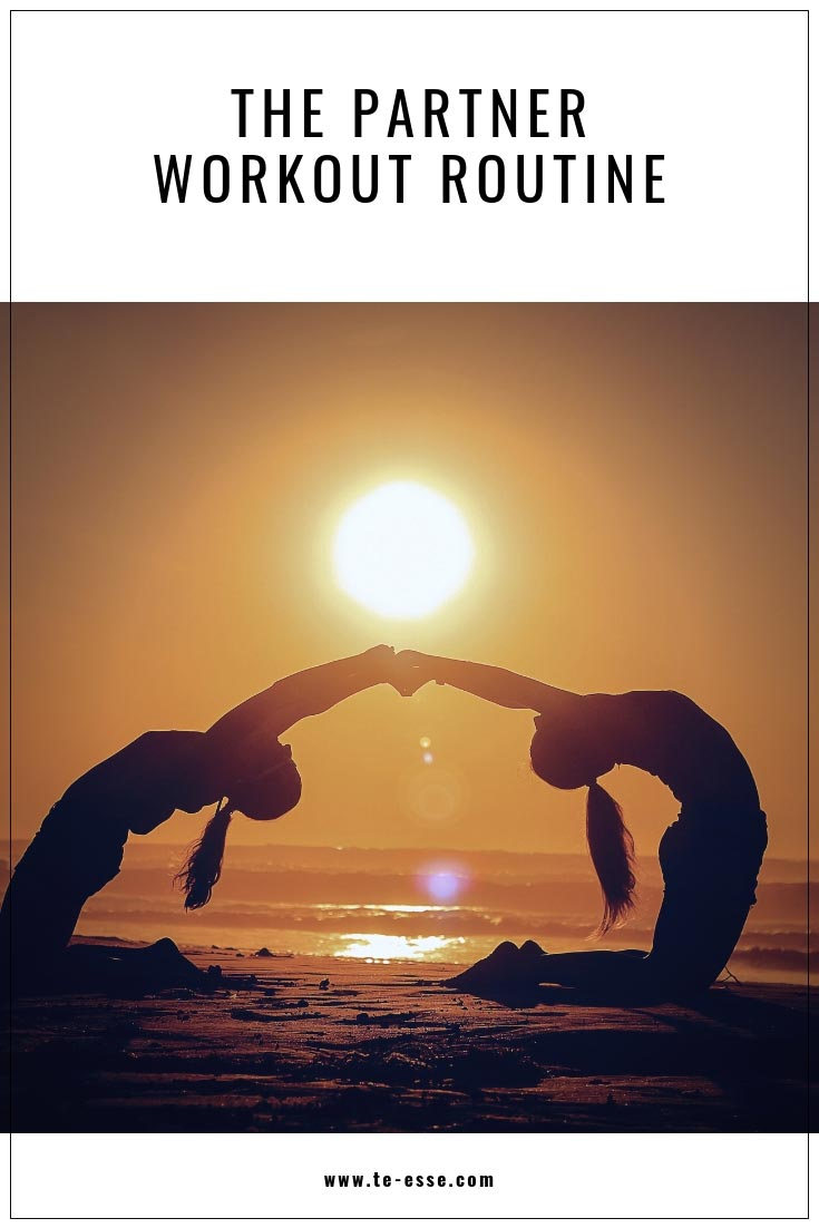 A pin graphic with an image of two girls reaching out their hand to hold each other while arching their backs on a beach with a sun about to set.
