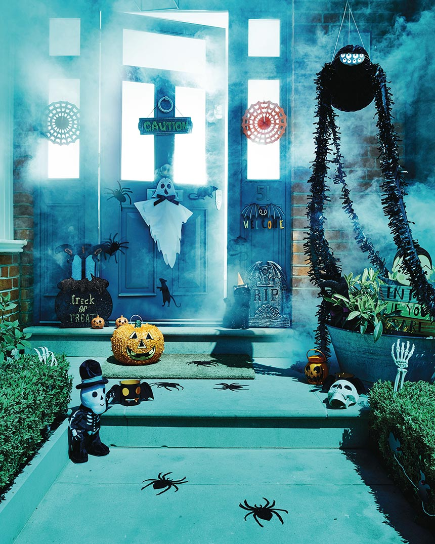SPOOKY! A scary entrance to a home, decorated for Halloween. Image by Sainsburys.