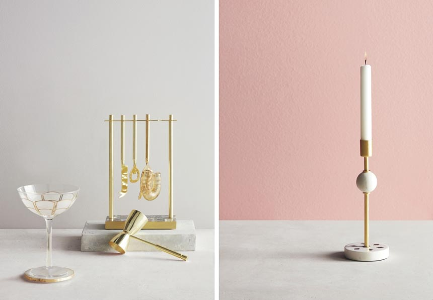 On the left, John Lewis Bar Tool Set, Deco Coupe Pair and on the right a candlestick with brass details epitomizing a soft deco style. Both images by John Lewis.