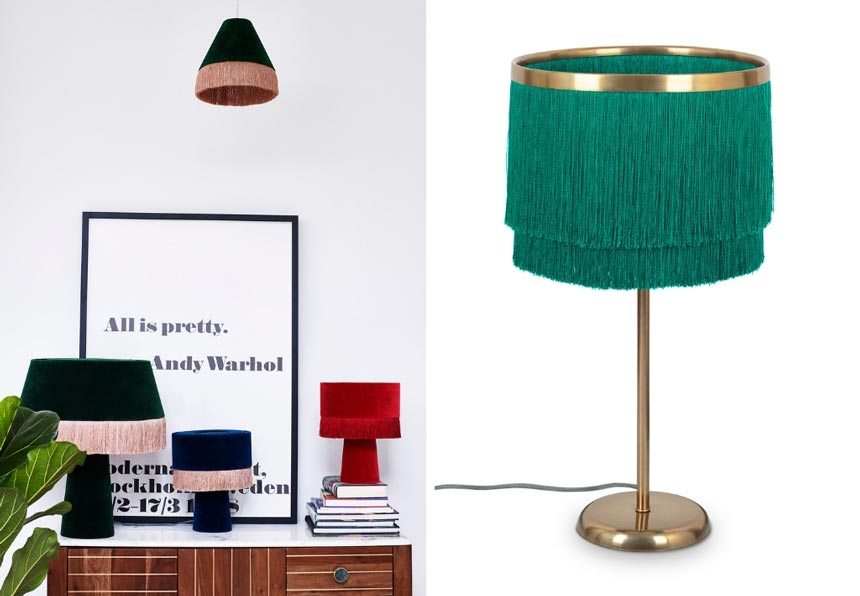 On the left an image of three velvet table lamps with fringe on a sideboard. They epitomize most of the decor trends nowadays. On the left a green fringe table lamp with brass details. Both images by Oliver Bonas.