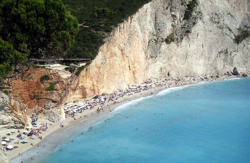 View of Porto Katsiki, one of the best known beaches in Lefkada with the white cliffs in the background and turquoise clear waters.