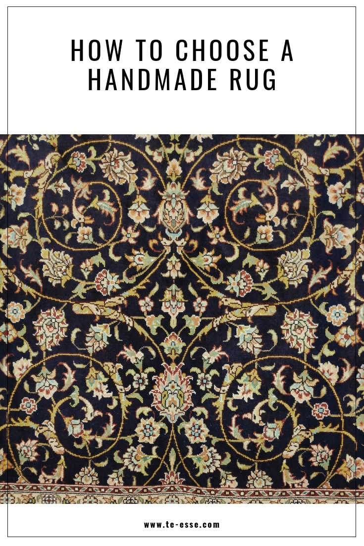 A pin image of a detail of a Persian rug that reads on top How to Choose a Handmade Rug