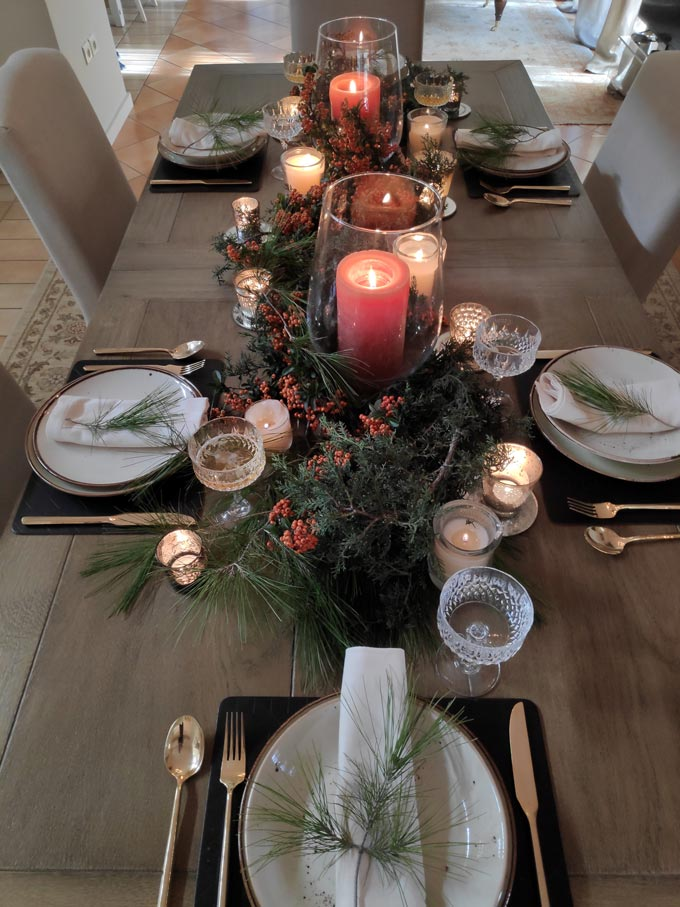 View from above of Elisabeth's Christmas tablescape.