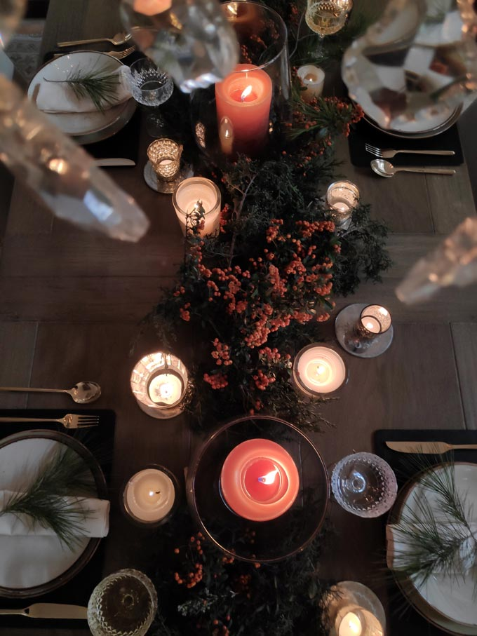 View from the top of almost the full Christmas tablescape Elisabeth styled.
