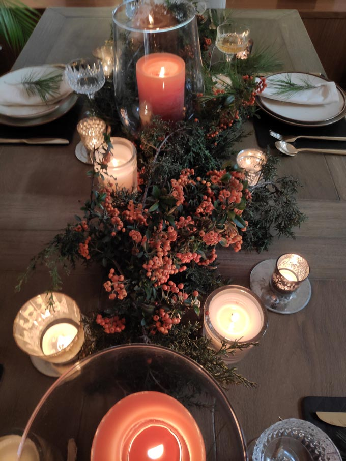 View of Elisabeth's Christmas tablescape.