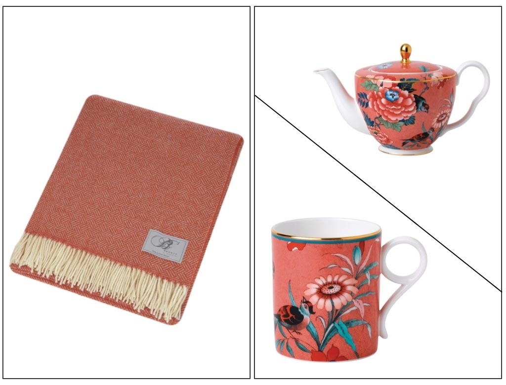 On the left a coral throw. On the right images of a teapot and a mug with a flower print on them on a coral background. All images by Amara.