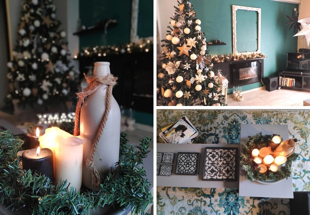 Three images of a centerpiece with a Christmas tree in the background, the Christmas tree itself and a top view of a nest of coffee tables over a pattern area rug.