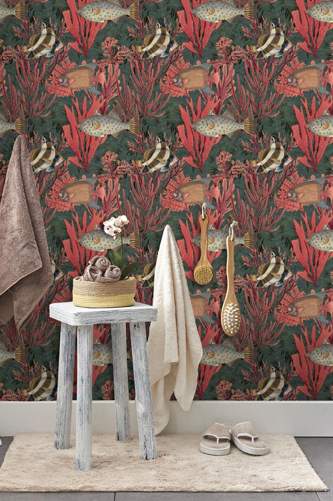Another striking wallpaper with a coral reef pattern used in a bathroom. Image by Mindthegap.