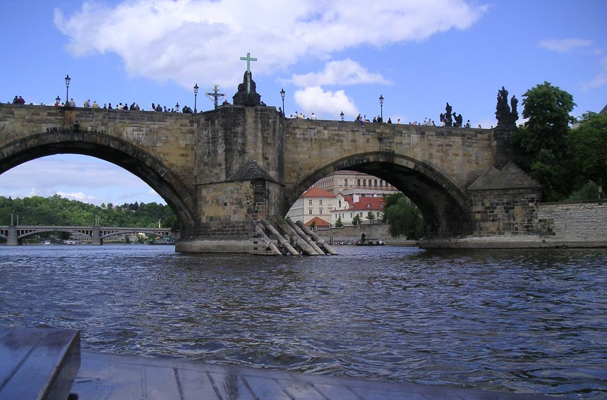 View of the Charles Bridge in Prague.