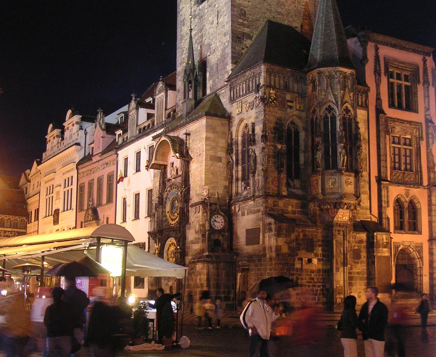 View of the Astronomical Clock on Prague's City Hall after sunset hours.