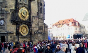 Another view of the Astronomical Clock on the City Hall in Prague during daytime.