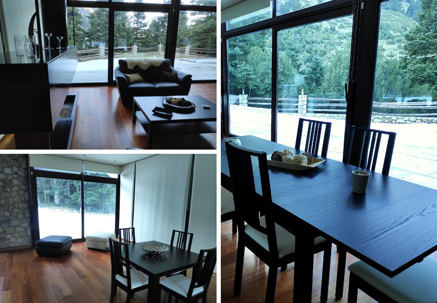 On the top right view of the living room with the mountain view in the background. On the bottom left, view of the space near the entrance. Two poufs and a small dining table of four can also be found. On the right partial view of the dining space with a mountain view in the background.