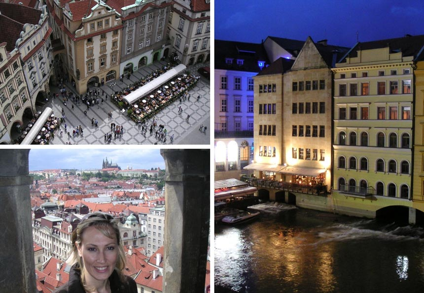Views of Prague! Top left: view of the Old Town Square from above. Bottom left: Velvet and view of the Prague Castle in the background. Right image: View of buildings in Prague on the riverfront after sunset hours.
