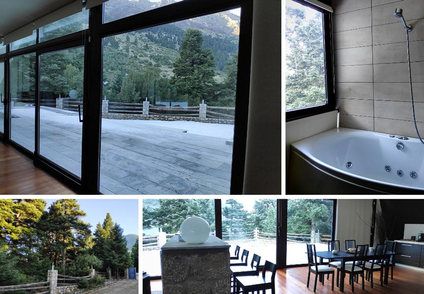 On the top left, the mountain view from the dining space. On the top right view of the tub in one of the bathrooms. On the bottom left a view from the grounds. On the right a view of the dining space.
