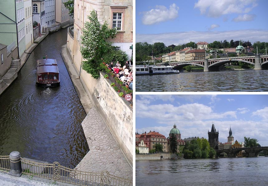 On the left: a sight-seeing boat going through a canal in Prague. On the right: two images of Prague taken while on the sight-seeing boat.