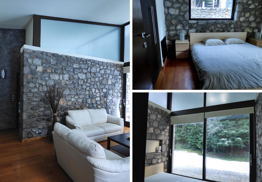 On the left view of the living room in the guest house with a stone accent wall. On the top right view of the first bedroom. On the bottom right, view of the second bedroom.