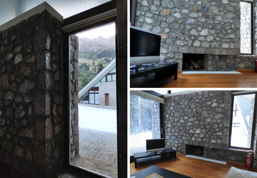 On the left peak view of the chalet across from the guest house. On the top right view of the stone fireplace. On the bottom right view of the living room with the stone fireplace of the guest house.