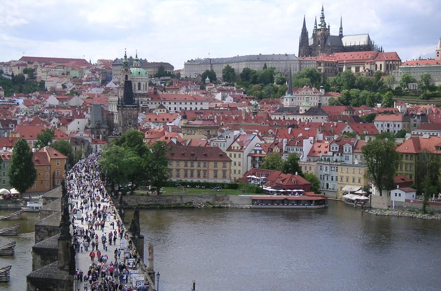 View of Charles Bridge and the Prague Castle from the City Hall.